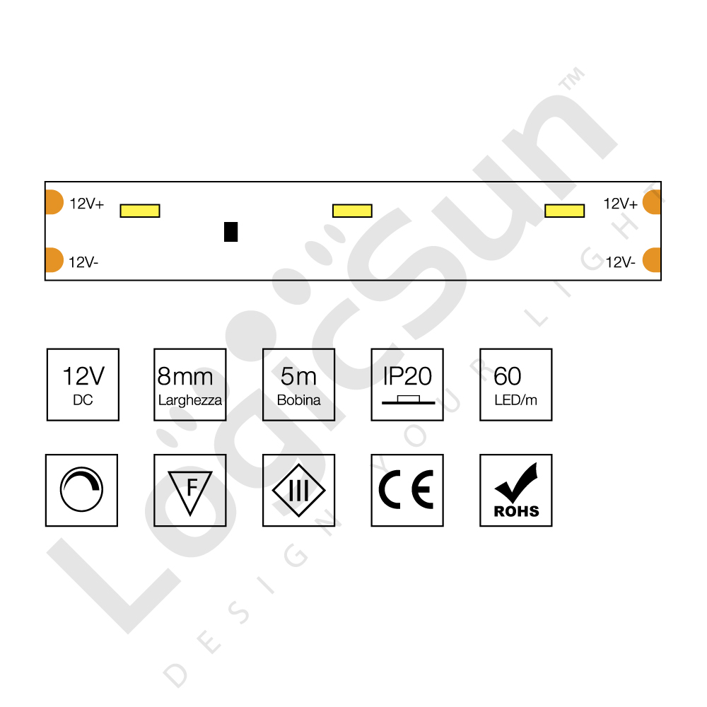 Striscia led luce laterale 315 4 8 w 12v logicsun for Luce led striscia